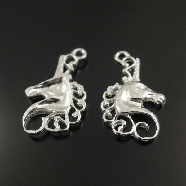 38359 tom de prata Cabeça de cavalo Liga jóia Vintage Encantos Acessórios fazer jóias 50pcs