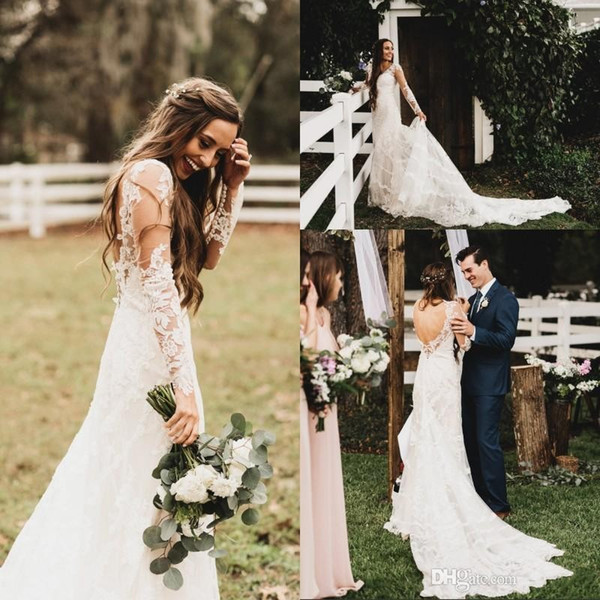 Country Long Sleeve Wedding Dresses 2019 Backless Long Train Appliques Illusion Bodice Garden Beach Bridal Gowns robe de mariée