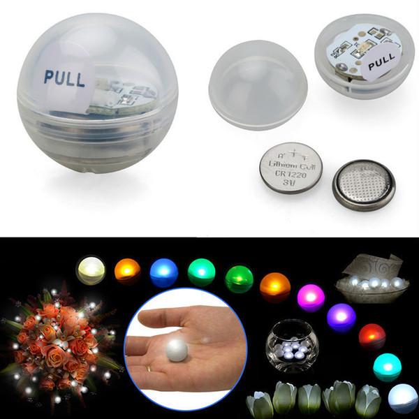Hotselling 12pcs / set perles de fée à piles Mini scintillement LED baies de lumière LED 2CM Ballon flottant de LED pour la fête de mariage