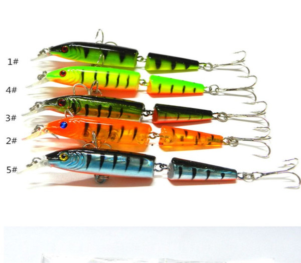 Top Sale 5PCS Simulated Fishing Lures 10.5cm Multi-section Short Lip Minnow Baits 9.6g Lifelike Plastic Hard Baits