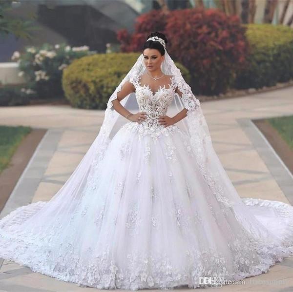 Molto Abiti da sposa in lusso arabo senza spalline a vento da sposa 2018  LP41