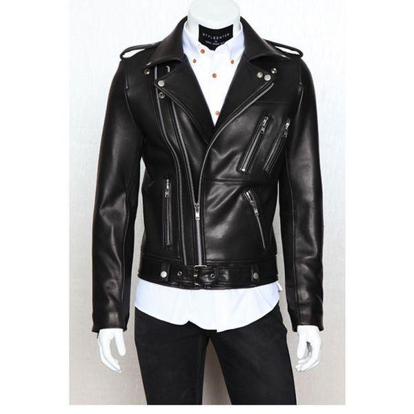 мужская мотоцикл кожа одежда повседневная стекаются Мужская одежда кожаная куртка мужчины мульти молния тонкий кожаный дизайн отворотом топы