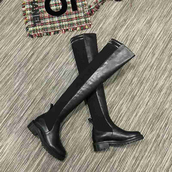 Fashion Brand FD Womens Ankle Thigh-High Boot Cow leather Ladies Thin Leg Boots (Original Box) Over-the-Knee Size 35-40