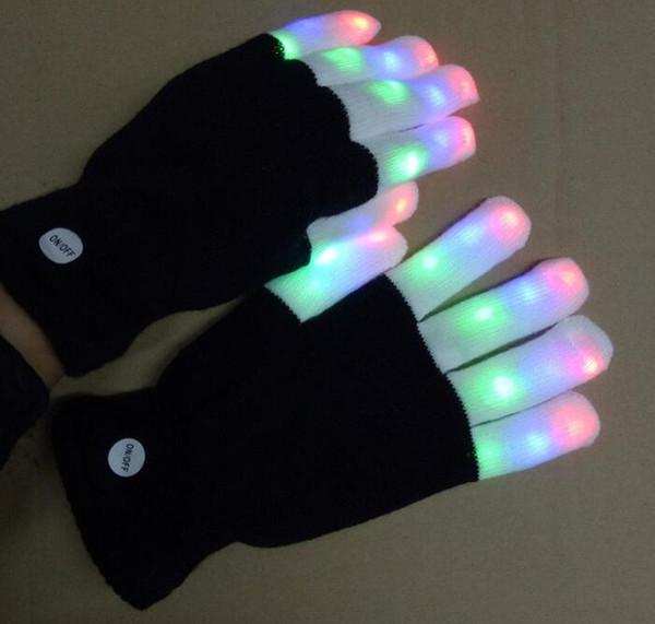 Lighting Mittens Magic Black luminous Gloves LED Glow Gloves Rave Light Up Flashing Finger Kids Children Toys Supplies