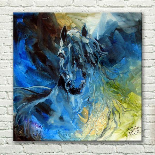 Compre Arte Abstracto Moderno Home Decor Art Crazy Blue Horse Pintura Al óleo Pintada A Mano Arte De La Pared Sobre Lienzo Pegatinas De Pared Animal
