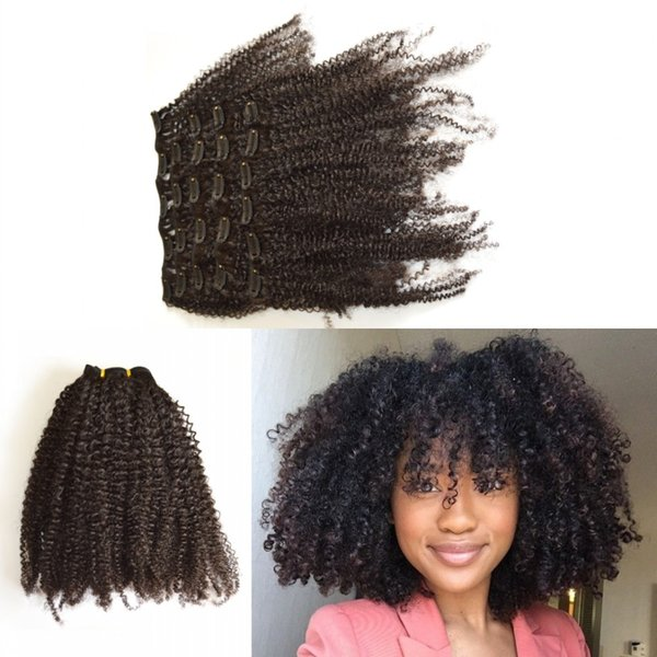 African American Clip in Human Hair extension Full Head Malaysian Virgin Hair afro Kinky Curly Clip ins G-EASY