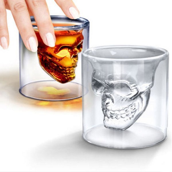 New Household Creative Skull Shape Glass Cups Multipurpose Whiskey Red Wine Glasses Trandsparent Glass Cup for Bar