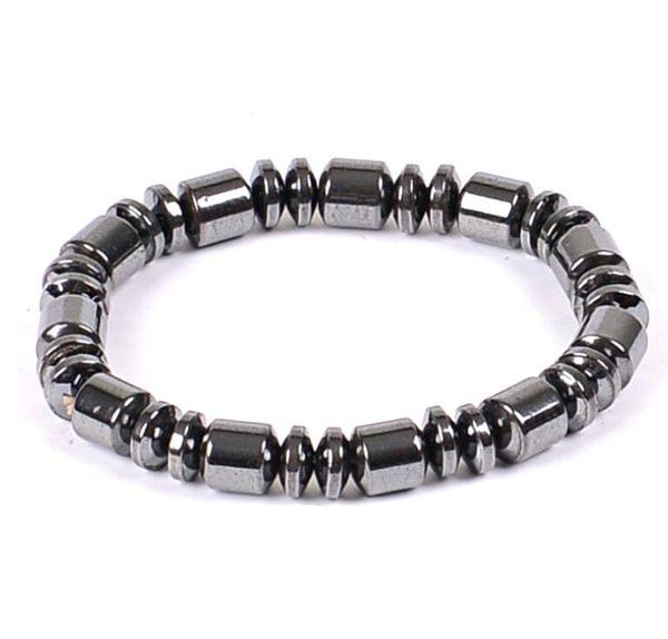 Mano Cuerdas Hematita Naturaleza Negro Collar Pulsera 6 MM 8 MM Perlas Barril con cuentas Magnética Terapia Pulsera Wrap Wrist para Deportes Hombres Mujeres