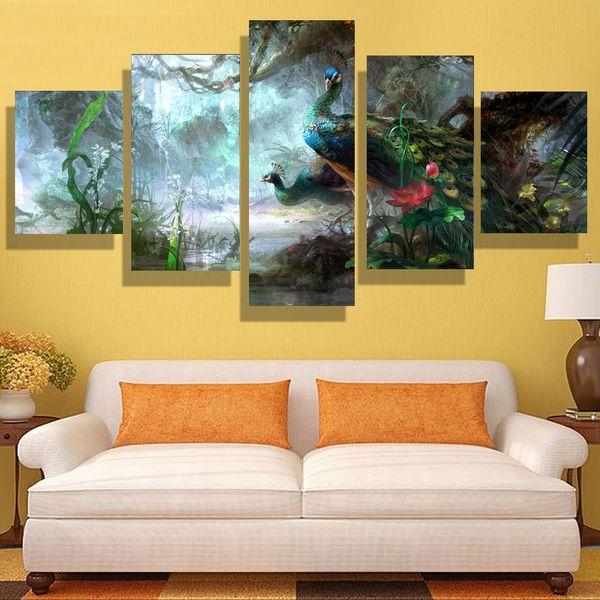 5p moderne hause HD bild ölgemälde leinwanddruck kunst wand wohnzimmer kinderzimmer studie dekoration thema-Pfau (kein rahmen)