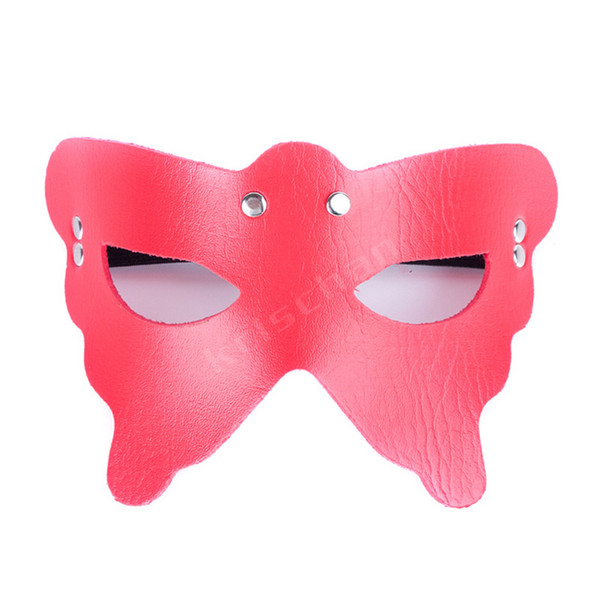 Red Leather Studed Butterfly Mask Master Dom SM Queen Flogger Outfit BDSM Bondage Fetish Sex Restraint Product