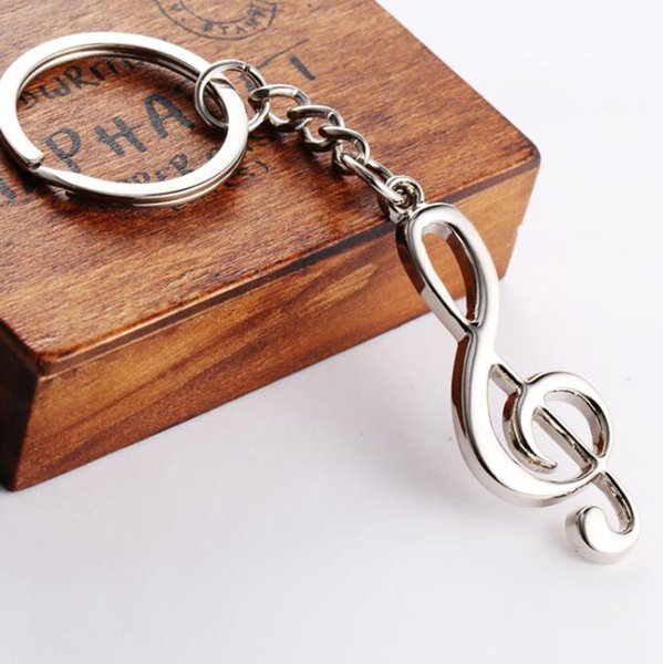 Fashion Design key ring key chain silver plated musical note keychain for car metal music symbol key chain