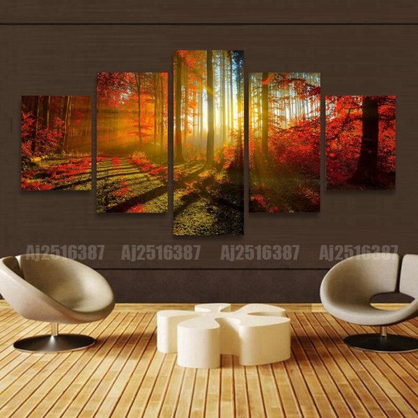top popular 5 Panel Forest Painting Canvas Wall Art Picture Home Decoration Living Room Canvas Print Modern Painting--Large Canvas Art Cheap 2020
