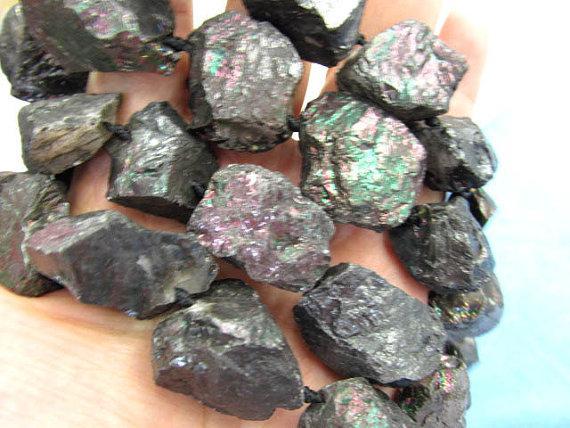 Genuine Duzy Drusy Agate freeform cubc nuggets mystic black rough jewelry bead 15-25mm full strand