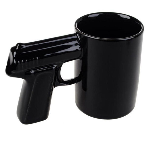 Free Shipping 1Piece Pistol Grip Coffee Cups And Mugs Funny Mug Milk Tea Cup Creative Office Ceramic Coffee Mug Drinkware