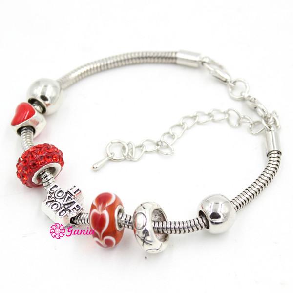 Neue Ankunft Großhandel DIY Schmuck Armband Rot Lampwork Murano Glas Herz Perlen XOXO Ich Liebe Dich Armbänder für Valentinstag Geschenk