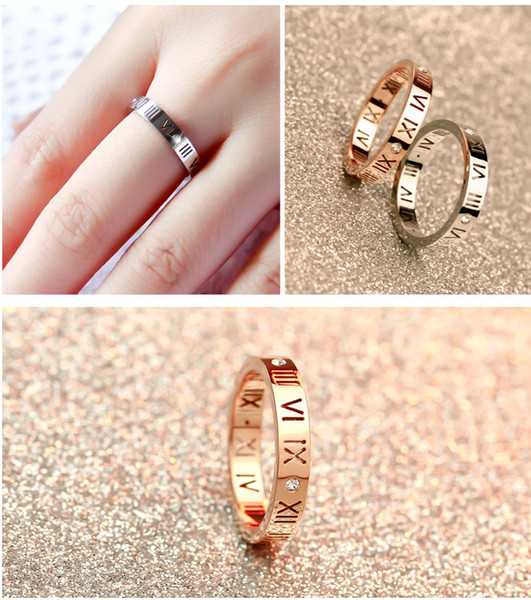 best selling Korean version of 18K rose gold Roman numeral diamond ring men and women couple tail ring ring jewelry wholesale