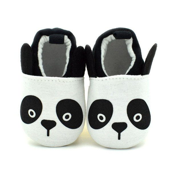 2016 New Baby Walking Shoes Cute Panda Cartoon Breathable Cotton Fabric Slip-on Anti-slip Soft Sole Affixed to foot