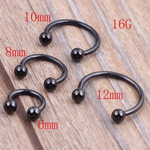 100pcs 1.2*6/8/10/12*3m Titanium Anodized Stainless Steel Black Circular Barbell Septum Piercing Balls Horseshoe Lip Nose Ring