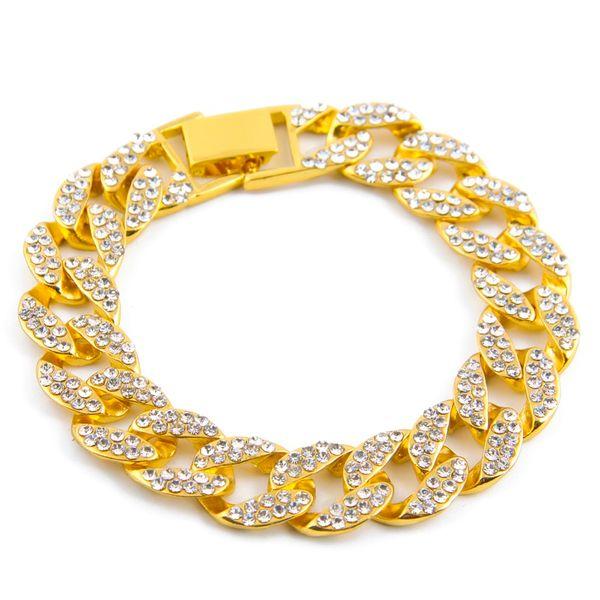 nouveau produit 859b9 7bd43 Acheter Bracelets De Luxe En Diamant De Luxe Simulé Bracelet Bracelet En  Argent / Argenté De Haute Qualité Iced Out Miami Bracelet Cubain Hip Hop  Pour ...