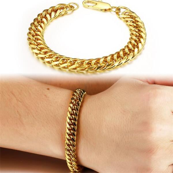 Vintage Man Bracelets 18K Real Gold Plated Cuban Chain Bracelet Attractive Men Jewelry Cheap Price, 946
