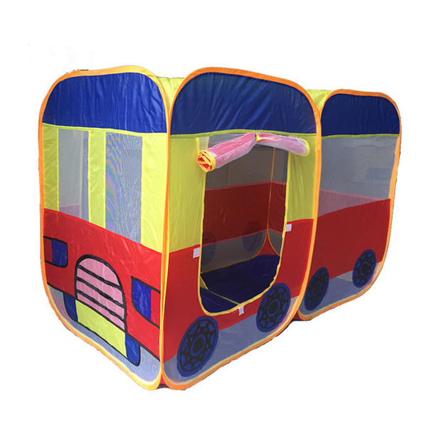 top popular Children's Bus Tent Cartoon Motorbus Dollhouse Kids foldable playhouse Indoor&Ourdoor Tent Big size Ball Pool 2 colors 140*70*90cm kid gifts 2021