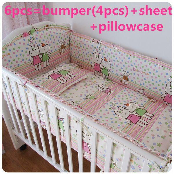 Promotion! 6PCS Baby Crib Bedding piece Set Bed Linen 100%Cotton crib set cot set, (bumpers+sheet+pillow cover)