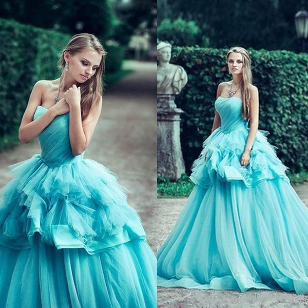 Fashion Turquoise Quinceanera Dresses Ball Gowns 2017 Strapless Pleated Organza Masquerade Gowns Sweet 16 Girls Prom Dresses New