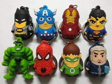 2016 New Batman Superman Batman Spider-Man Iron Man Avengers Superhero Captain America cartoon anime boy Keychain sided soft toys for kids