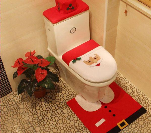 Cker Santas Claus Home Decor Presentes De Natal Toliet Closestool Tampa Do Tanque Tampa Tampa Do Assento Do Toalete Do Feliz Santa e Rug Conjunto De Banheiro (conjunto de 4)