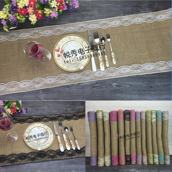 best selling 12 Colors Vintage Burlap Linen Lace Hessian Table Runner Original Ecology Style Natural Jute Party Wedding Decoration, 30cm*275cm