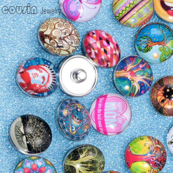 20pcs boutons de verre mixtes