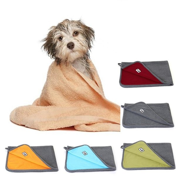 Dog Fleece Warm Dog Clothes Super Absorbent Pet Drying Towel Embroidery Cat Hood Pet Bath Towel Grooming Pet Product Free shipping