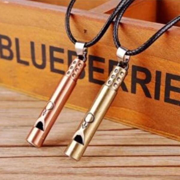MIC 10pcs Personality creative fashion Antique bronze & Antique copper alloy Whistle charm Pendant Men's Necklace