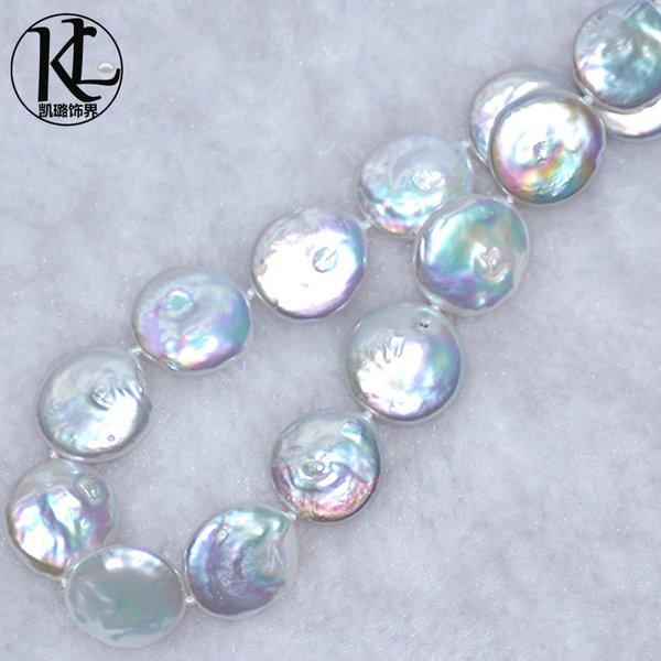 Collar de perlas con forma especial barroca S925 broche de plata Collar de perlas de agua dulce con cuentas de 15-17 mm con forma de botón en relieve natural
