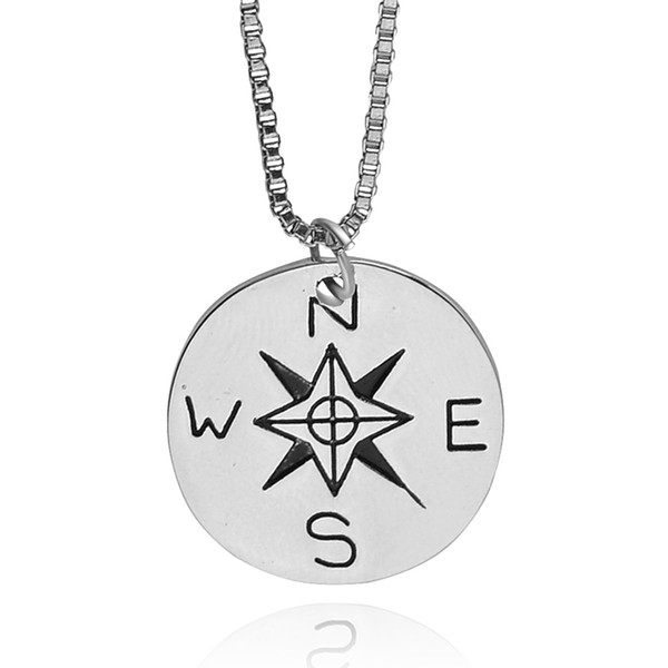 Box chain necklace not all who wander are lost Compass necklaces Star Traveler Necklace Find Your True North And South Direction Necklace 8
