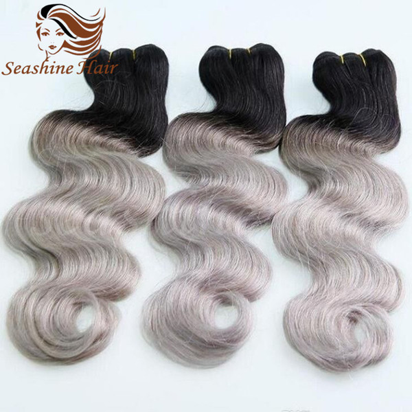 Cheap Human Ombre Grey Hair Weave Hair Extensions Brazilain Ombre