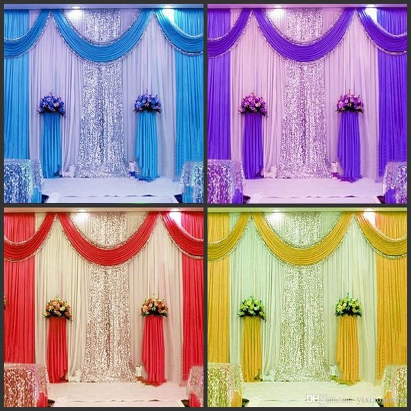 3m*6m wedding backdrop swag Party Curtain Celebration Stage Performance Background Drape With Beads Sequins Edge free shipping
