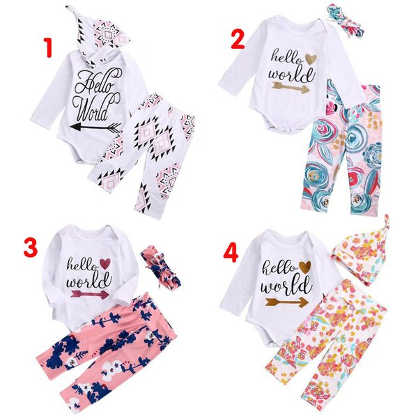 high quality girl suits 3PCS Newborn Baby Girls Hello World long sleeve t shirt Tops Romper+Floral Pants+Hat casual Outfits kids Clothes Set