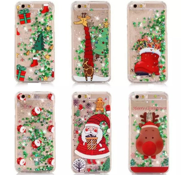 Christmas Phone Case Iphone 7.Christmas Phone Cases For Iphone7 Iphone 7 6 6s Plus S7 S8 S6 Hard Flash Stars Drift Sand Protective Cover Case Hard Defender Case Gsz204 Waterproof