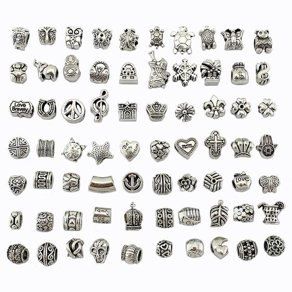 top popular Antique Silver Plated Alloy Big Hole Charms Spacer Beads fit pandora bracelet DIY Jewelry Necklaces & Pendants charms Beads 2021