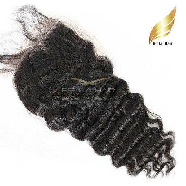 Deep Wave Malaysian Virgin Human Hair Extensions Lace Closure Weave Free Part Unprocessed Hair Closure Top 8A Grade Free Shipping
