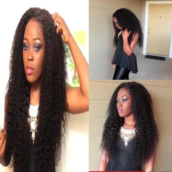 Pelucas llenas del pelo humano del cordón de la onda profunda 8A para las mujeres negras con el pelo del bebé Pelucas llenas del cordón Pelucas sin procesar del pelo humano del cordón de Glueless