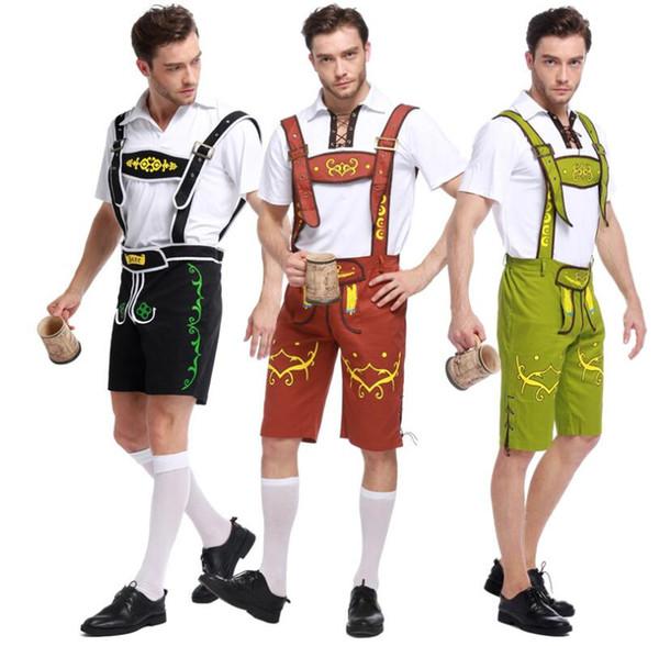 Mens Bavarian German Lederhosen Beer Oktoberfest Suspenders Cosplay Costume for Halloween Masquerade Plus Size 3 Colors