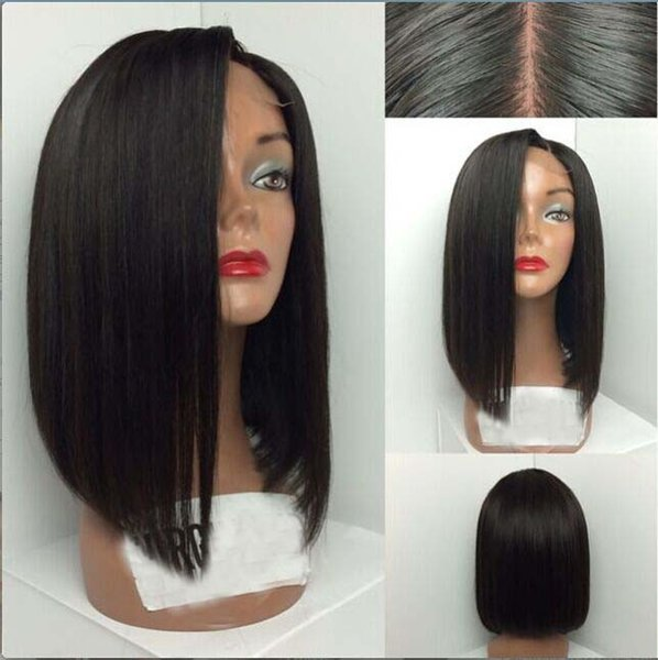 Grade 7A Short Cut 100% Virgin Brazilian Hair Glueless Full Lace Human Hair Wigs Bob Lace Front wigs For Black Women Middle Part