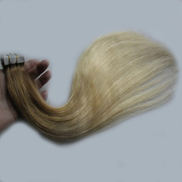 T8/613 blonde two tone ombre hair extensions 100g 40pcs Straight tape in human hair extensions