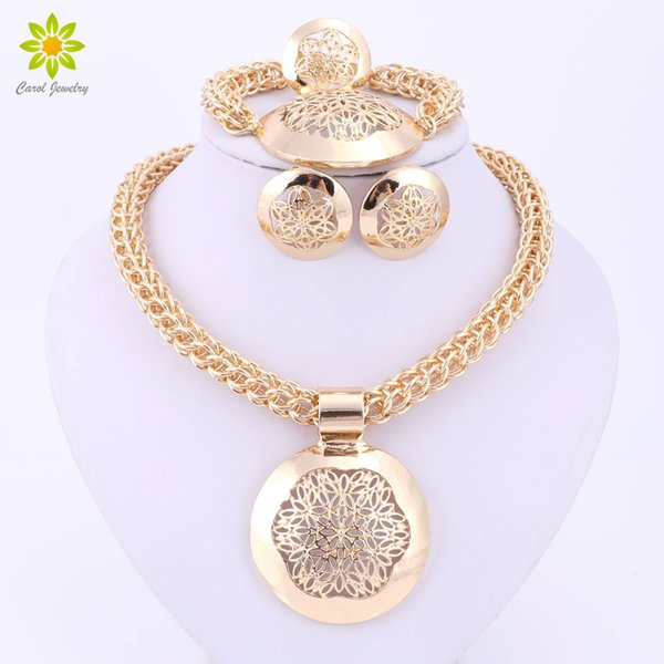 2016 Latest Fashion African Jewelry Set Round Pendant Gold Plated Dubai Big Necklace Earrings Wedding Sets Gift For Women