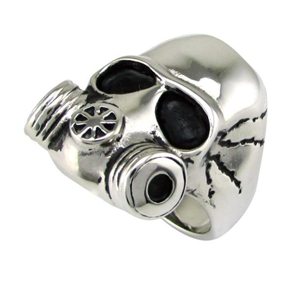 Punk 316L Stainless Steel Gas Mask Style Skull Head Ring