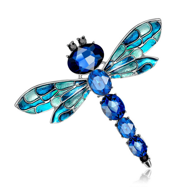 Free Shipping Luxury Crystal Dragonfly Brooches Pins Scarf Clips Brooch for Women Wedding Dailywear Banquet Bijoux