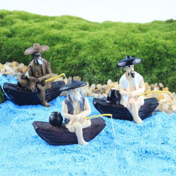 3pcs fishermen/fisher/sea/fairy garden gnome/mini boat model/terraium decoration/lovers/gifts/children gifts