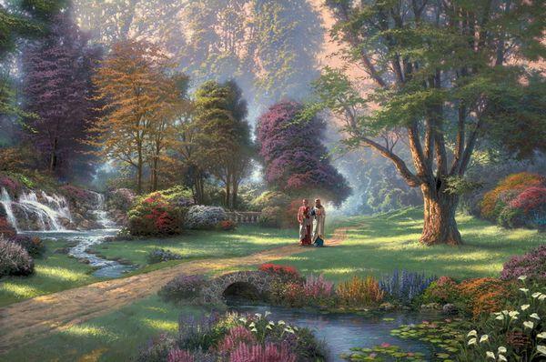 Thomas Kinkade Landscape Oil Painting Reproduction High Quality Giclee Print on Canvas Modern Home Art Decor TK040